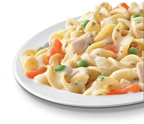 Pasta with White Chicken, Peas & Carrots